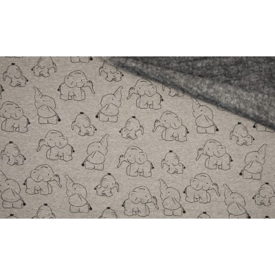 Elephant Grijs Fleece print